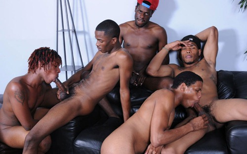 thug orgy black muscle dudes sucking each other off